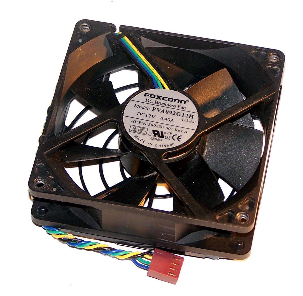 HP 580230-001 8000 Elite CMT 12VDC 0.40A Rear Case Fan | Foxconn PVA092G12H Thumbnail 2
